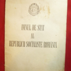 Publicatie Ed.Muzicala 1977-Imnul de Stat al RSR - Partitura si versuri adaptate