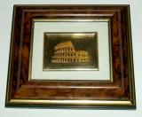 Serigrafie in miniatura Coloseum pe foita de aur pictata manual, 10x9cm, Peisaje, Acuarela, Miniatural