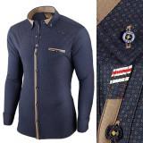 Camasa pentru barbati, bleumarin, flex fit, elastica, casual, cu guler - genesis