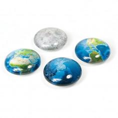 Magnet decorativ Eye Planet, 13 mm, putere clasa 3, set 4 bucati, multicolor