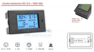 Voltmetru Ampermetru Watmetru contor electronic 6.5 - 100V 20A