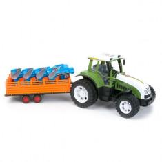 Tractor agricol de jucarie, model cu remorca si plug, alb/verde, 57×19.5×20.5 cm