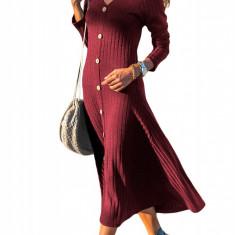 M671-81 Rochie maxi cu aspect tricotat accesorizata cu butoni