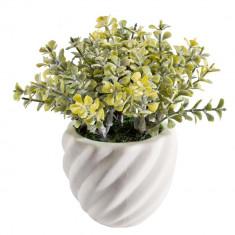 Aranjament flori artificiale ghiveci ceramica verde 8 cm x 8 cm x 14h