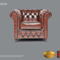 Fotoliu din piele naturală-Maro Antique -Autentic Chesterfield Brand