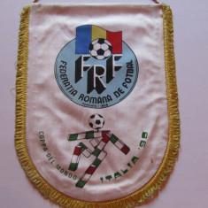 Fanion (format mare) fotbal ROMANIA (FRF) la Campionatul Mondial Italia 1990
