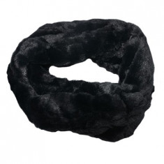 Fular Lenna cu insertii de blanita,model cilcular,nuanta de negru