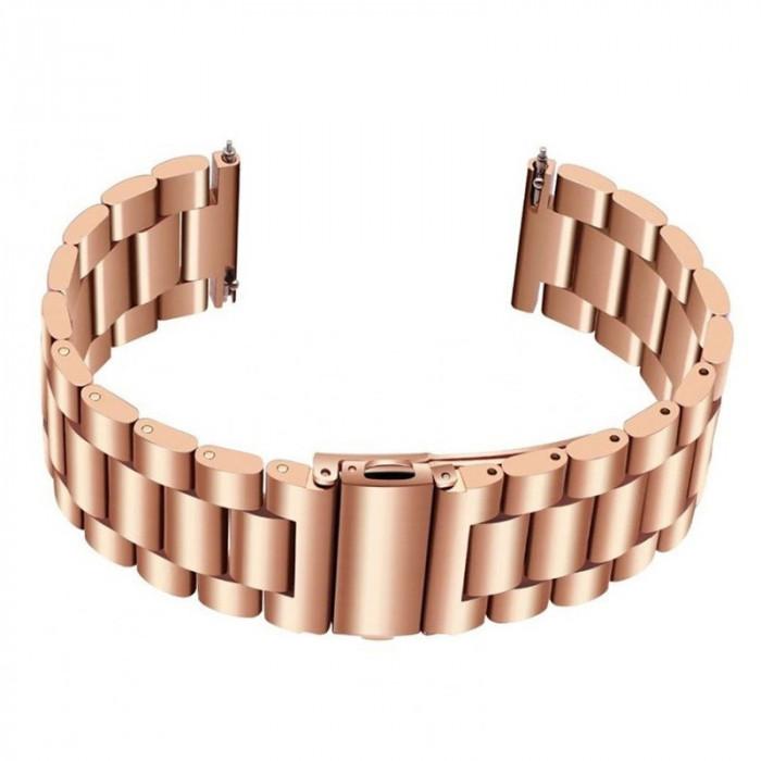 Curea otel inoxidabil, compatibila Samsung Galaxy Watch Active 2, telescoape QR, Rose Gold