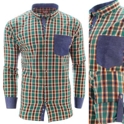 Camasa pentru barbati, muscle fit, in carouri, casual, cu guler - Spring foto
