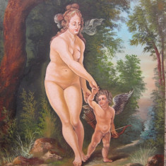 "Tablou / Pictura nud ""Afrodita & Cupidon"", Ulei, Realism"