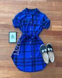 Cumpara ieftin Rochie ieftina casual stil camasa albastra si neagra cu dungi si cordon in talie