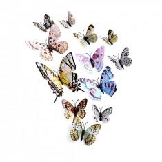 Fluturi 3D magnet, dubli, decoratiuni casa, evenimente, set 12 bucati, alb, A24