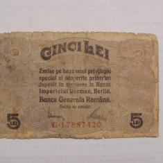 CY - 5 lei 1917 Romania / BGR / Banca Generala Romana / ocupatia germana WW1