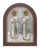 Icoana Sfintii Imparati Constantin si Elena,Foita argint 925,15.6x19 cm Cod Produs 1395