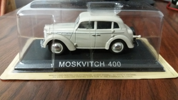 macheta moskvitch 400 deagostini masini de legenda romania - 1/43, noua.