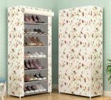 Suport pantofi 21 perechi 7 rafturi cu alb cu floricele