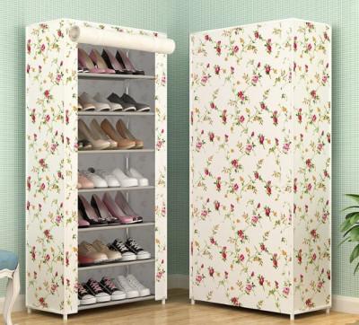 Suport pantofi 21 perechi 7 rafturi cu alb cu floricele foto