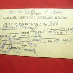 Carte de Intrare la Biblioteca Academiei RPR - Sala de Studii -Prof.Panait