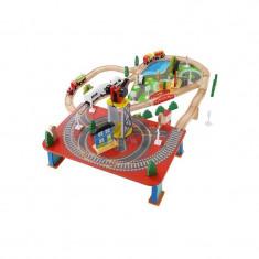 Circuit Trenulet Din Lemn Natural, 88 De Accesorii Incluse WoodTrain, Kruzzel