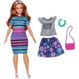 Papusa cu haine de schimb Barbie Fashionistas 85 Happy Hued
