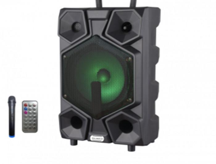 Boxa portabila cu bluetooth microfon wireless telecomanda joc de lumini