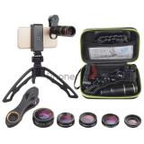 Set 6 lentile foto pentru telefon cu suport de tip trepied si selfie-stick inclus