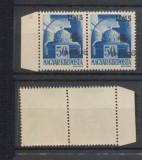 ROMANIA 1945 Transilvania de Nord timbru Oradea 4P pe 50f deplasat pereche MNH