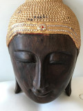 Superba masca abanos Buddha,veche,grea,frumos decorată,stare perfecta.