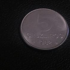 Monedă 5 cruzeiros 1982 Brazilia