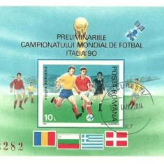 1990 - preCM fotbal, colita ndt stampilata