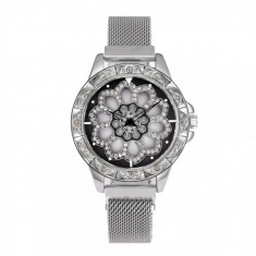 Ceas de dama elegant Geneva CS1016, bratara magnetica, cadran rotativ, model argintiu