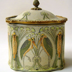 Bomboniera Art Nouveau din portelan Craquele cu bronz JC103