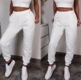 Cumpara ieftin Pantaloni dama lungi de tip jogger din bumbac albi cu elastic si buzunare