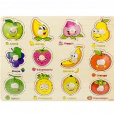 Tabla - Puzzle din lemn cu fructe colorate - Jucarie educativa pentru copii