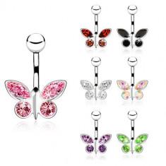 Piercing pentru buric realizat din oțel, fluture din zirconiu - diverse culori - Culoare zirconiu piercing: Aurora Boreală - AB