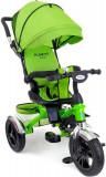 Tricicleta Carucior pentru copii cu scaun rotativ, copertina, cos, maner parental, suport picioare pliabil, culoare verde