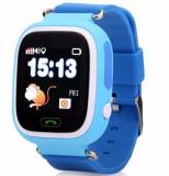 Ceas Smartwatch cu GPS Copii iUni Kid100, Touchscreen, Bluetooth, Telefon incorporat, Buton SOS, Albastru