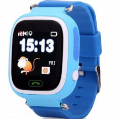 Ceas Smartwatch copii cu GPS iUni Q90, Touchscreen, Telefon incorporat, Buton SOS, Albastru