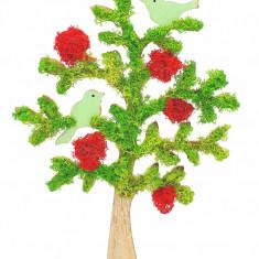 Cumpara ieftin Aranjament cu licheni naturali stabilizati, Tree with birds, 27x37 cm