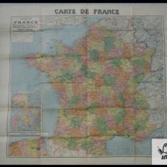Harta Franta  color- perioada interbelica - cca 100cm/ 90cm - stare foarte buna