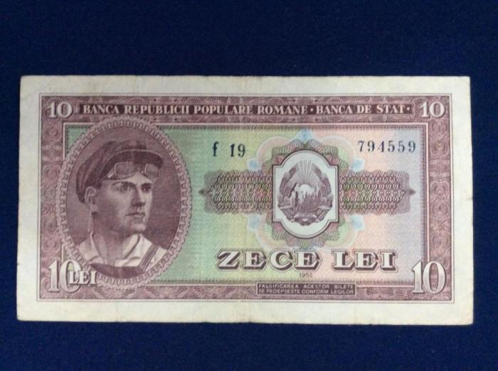 Bancnote România - 10 lei 1952 - seria f 19 794559 (starea care se vede)