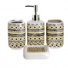Set 4 piese pentru baie din ceramica cu model negru cu galben 25,5 21,5 8 cm