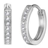 Cercei rotunzi cu cristale Swarovski Philip Jones dama, argintii, 1.8 cm inaltime