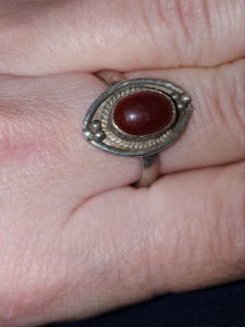 inel argint 925 antic ,  CU PIATRA DE CARNEOL natural