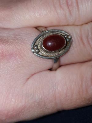inel argint 925 antic ,  CU PIATRA DE CARNEOL natural foto
