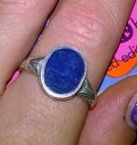 argint 925 ! ,  inel deosebit  cu email albastru !!