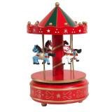 Carusel muzical din lemn, 13 x 21 cm, Multicolor