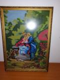 Goblen vechi tablou cusut vintage 58x41.5 cm cu rama si protectie