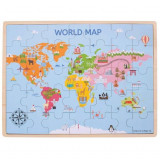 Puzzle din lemn - Harta lumii (35 piese), Bigjigs