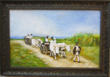 Pictura car cu boi semnat Cimpoesu